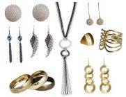 Biżuteria w kolorach złota i srebrna